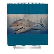 Blue Water, White Death Shower Curtain