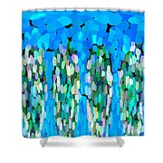 Blue Waterfalls And Teardrops Shower Curtain