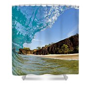 Blue Wave - Makena Beach Shower Curtain