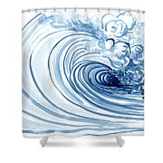 Blue Wave Modern Loose Curling Wave Shower Curtain