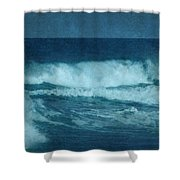 Blue Waves - Jersey Shore Shower Curtain by Angie Tirado