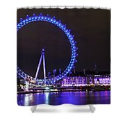 Blue Wheel Shower Curtain