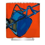 Blue Wheelbarrow Shower Curtain