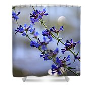 Blue Wildflowers Over Rimrock Lake Shower Curtain