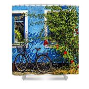 Blue Window With Bike Shower Curtain