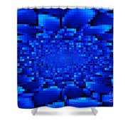 Blue Windows Abstract Shower Curtain