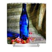 Blue Wine Bottle Shower Curtain