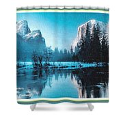 Blue Winter Fantasy. L A With Decorative Ornate Printed Frame. Shower Curtain