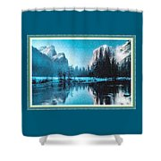 Blue Winter Fantasy. L B With Decorative Ornate Printed Frame. Shower Curtain