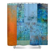 Blue With Orange 2.0 Shower Curtain