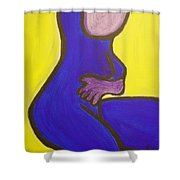 Blue Woman Shower Curtain