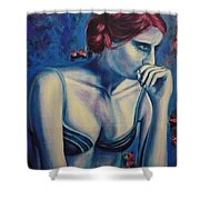 Blue Woman Thinking Shower Curtain