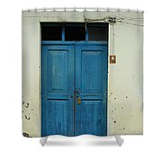 Blue Wood Door In A Building Shower Curtain