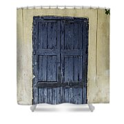Blue Wood Door Shower Curtain