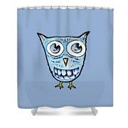 Blue Woot Owl Shower Curtain