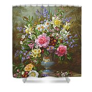Bluebells Daffodils Primroses And Peonies In A Blue Vase Shower Curtain