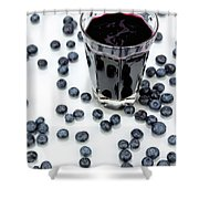 Blueberries And Blueberry Juice Shower Curtain