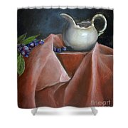 Blueberries And Cream Shower Curtain