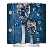 Blueberries On Denim I Shower Curtain