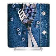Blueberries On Denim II Shower Curtain