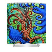 Bluebird In Tree Shower Curtain