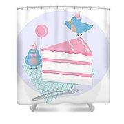 Bluebirds Love Birthday Cake Shower Curtain