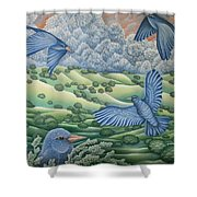Bluebirds Of Happiness Shower Curtain