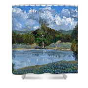Bluebonnet Pond Shower Curtain