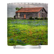 Bluebonnets And Abandoned Farm House Shower Curtain