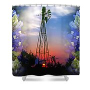 Bluebonnets And Windmill Shower Curtain