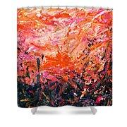 Bluegrass Sunrise - Crimson A-left Shower Curtain