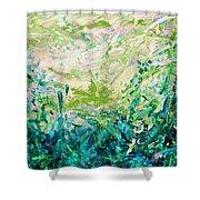 Bluegrass Sunrise - Jade A-left Shower Curtain