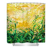 Bluegrass Sunrise - Olive A-left Shower Curtain