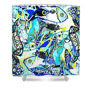 Blues Fishes Shower Curtain