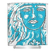 Blues Girl Shower Curtain