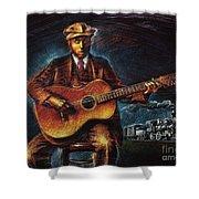 Blues Guitarist Shower Curtain