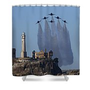 Blues Over Alcatraz Shower Curtain