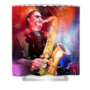Blues Saxophonist Shower Curtain