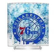bluish backgroud for Philadelphia basket Shower Curtain