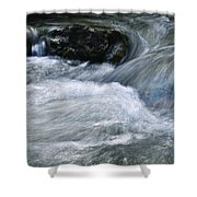 Blurred Detail Of A Mountain Stream Shower Curtain