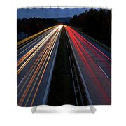 Blurred Lights Lines On Highway Shower Curtain