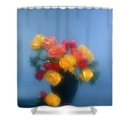 Blurred Roses In The Blue Shower Curtain