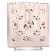 Blush Pink Floral Rose Cluster W Dot Bedding Home Decor Art Shower Curtain