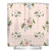 Blush Pink Floral Rose Cluster W Dot Bedding Home Decor Art Shower Curtain