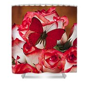 Blush Roses With Red Butterfly Shower Curtain