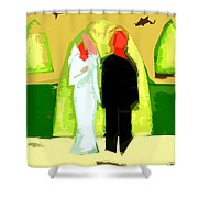 Blushing Bride And Groom 2 Shower Curtain