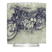 Bmw R60/2 - 1956 - Bmw Motorcycles 1 - Vintage Motorcycle Poster - Automotive Art Shower Curtain