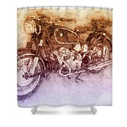 Bmw R60/2 - 1956 - Bmw Motorcycles 2 - Vintage Motorcycle Poster - Automotive Art Shower Curtain