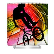 Bmx In Lines And Circles Shower Curtain