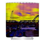Bnsf Trestle At Salmon Bay Shower Curtain